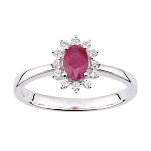18ct White Gold Ruby and Diamond Oval Gemstone Ring