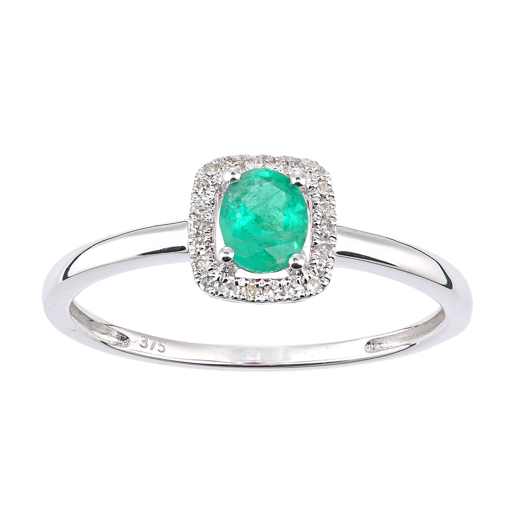 9ct White Gold Emerald and Diamond Oval Gemstone Ring