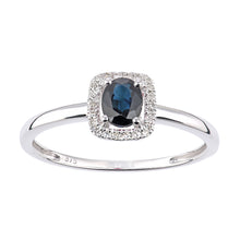 Load image into Gallery viewer, 9ct White Gold Sapphire and Diamond Oval Gemstone Ring