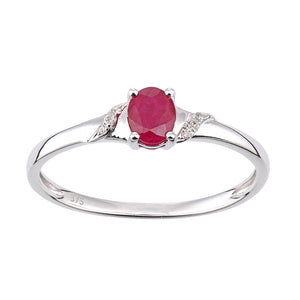 9ct White Gold Ruby and Diamond Oval Gemstone Ring