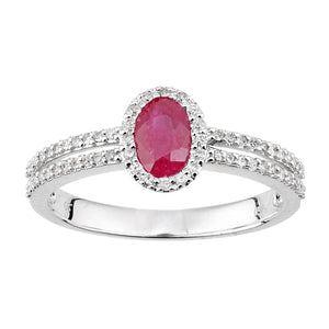 18ct White Gold Diamond and Ruby Oval Ring with Diamond Shoulders