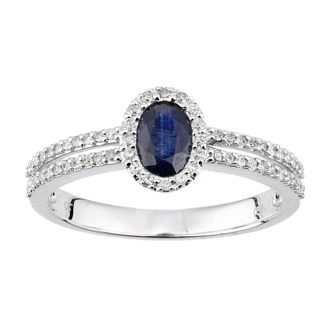 18ct White Gold Diamond and Sapphire Oval Ring with Diamond Shoulders