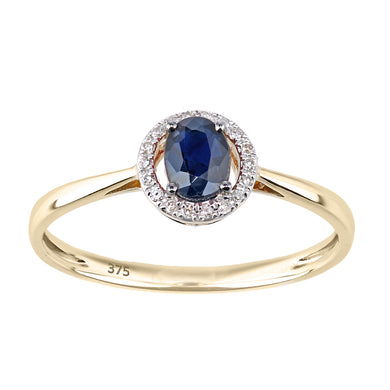 9ct Yellow Gold Diamond and Sapphire Round Ring with Diamond Halo
