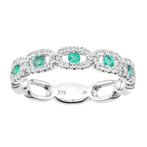 9ct White Gold Diamond and Emerald Gemstone Oval Links Ring