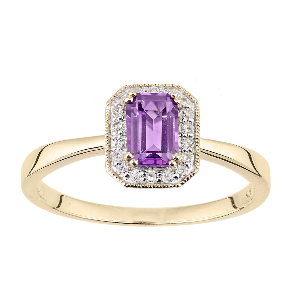 9ct Yellow Gold Diamond and Amethyst Gemstone Rectangle Cut Ring