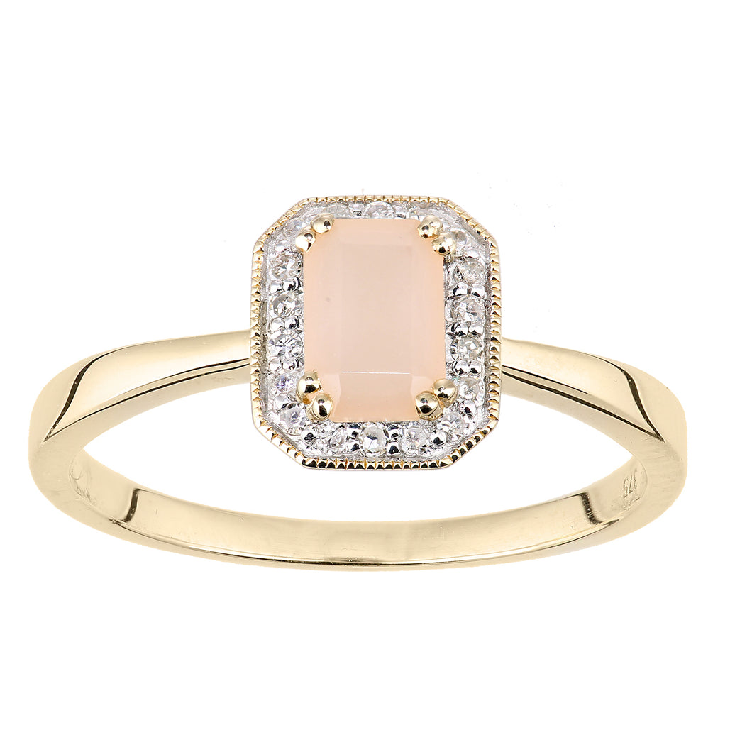 9ct Yellow Gold Diamond and Pink Opal Gemstone Rectangle Cut Ring