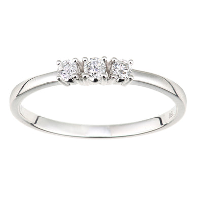 18ct White Gold Diamond Trilogy Ring, 0.15ct Diamond