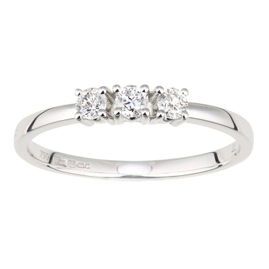 18ct White Gold Diamond Trilogy Ring, 0.22ct Diamond