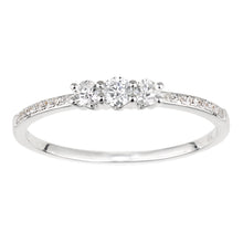 Load image into Gallery viewer, 18ct White Gold Diamond Trilogy Ring with Diamond Shoulders