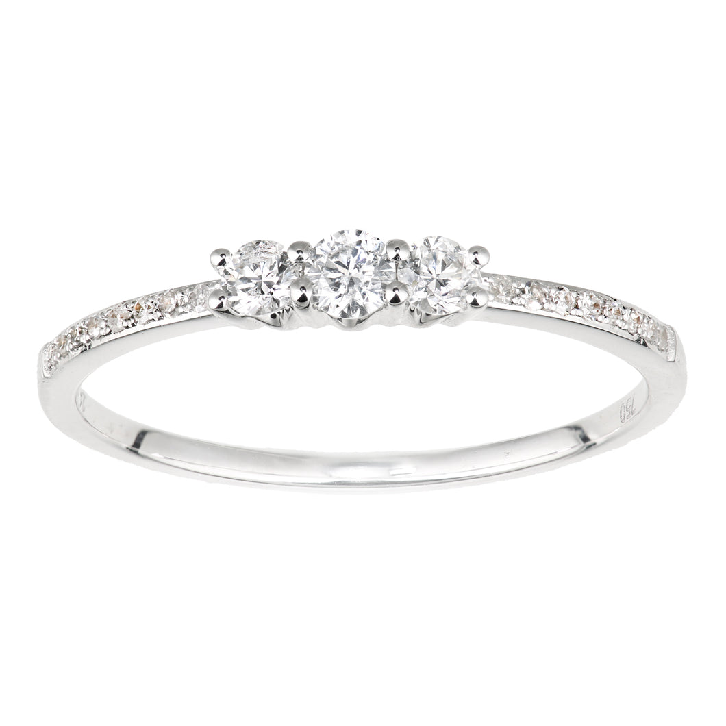 18ct White Gold Diamond Trilogy Ring with Diamond Shoulders