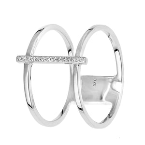 9ct White Gold Double Layer Diamond Ring