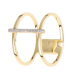 9ct Yellow Gold Double Layer Diamond Ring