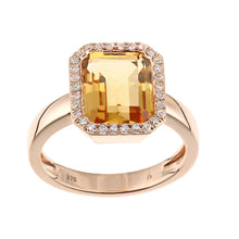 Load image into Gallery viewer, 9ct Rose Gold Diamond and Citrine Rectangular Cut Gemstone Ring
