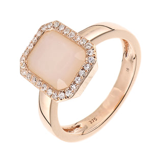 9ct Rose Gold Diamond and Pink Opal Rectangular Cut Gemstone Ring