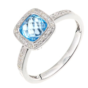 9ct White Gold Diamond and Blue Topaz Square Cut Gemstone Ring