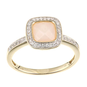 9ct Yellow Gold Diamond and Pink Opal Square Cut Gemstone Ring
