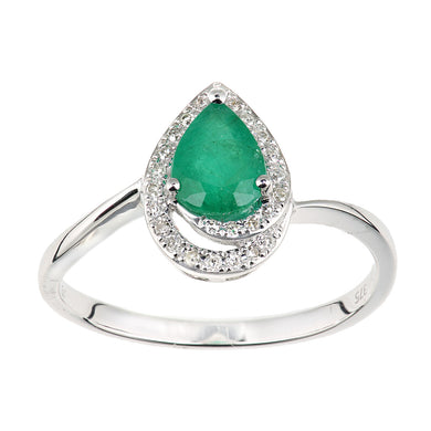 9ct White Gold Diamond and Emerald Teardrop Ring