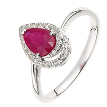 Load image into Gallery viewer, 9ct White Gold Diamond and Ruby Teardrop Ring