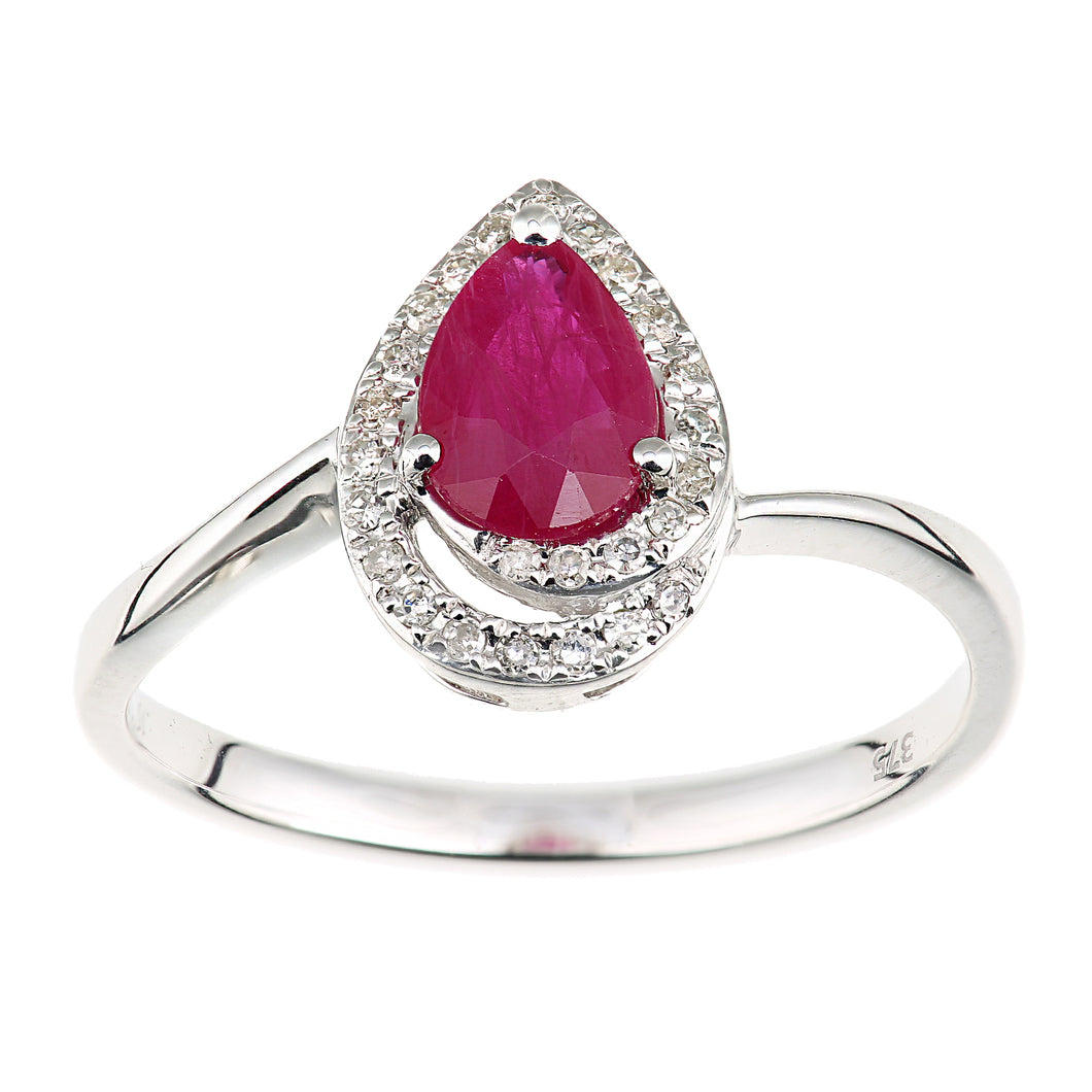 9ct White Gold Diamond and Ruby Teardrop Ring