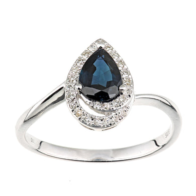 9ct White Gold Diamond and Sapphire Teardrop Ring