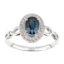 Load image into Gallery viewer, 9ct White Gold Diamond and Sapphire Oval Gemstone Ring