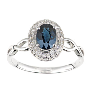 9ct White Gold Diamond and Sapphire Oval Gemstone Ring