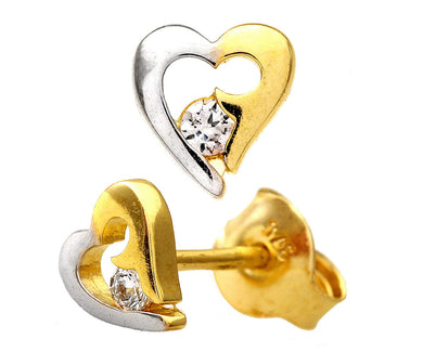 9ct Yellow and White Gold Cubic Zirconia Heart Earrings
