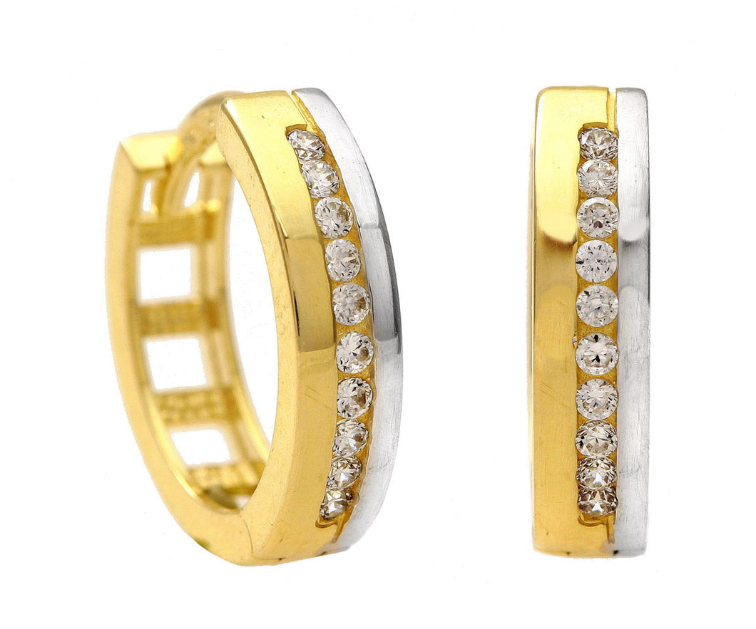9ct Yellow and White Gold Channel Set Cubic Zirconia Hoop Earrings