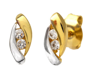 9ct Yellow and White Gold Cubic Zirconia Almond Shape Stud Earring