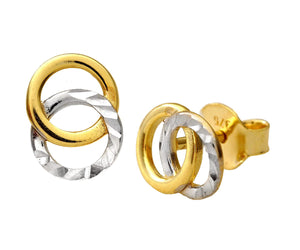 9ct Yellow and White Gold Diamond Cut Circle Stud Earrings
