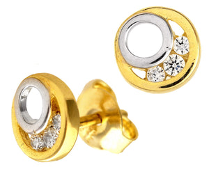 9ct Yellow and White Gold Cubic Zirconia Circle Stud Earrings