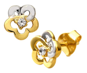 9ct Yellow and White Gold Cubic Zirconia Flower Stud Earrings