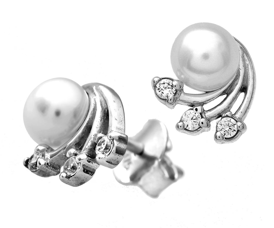 9ct White Gold Cubic Zirconia and Pearl Stud Earrings