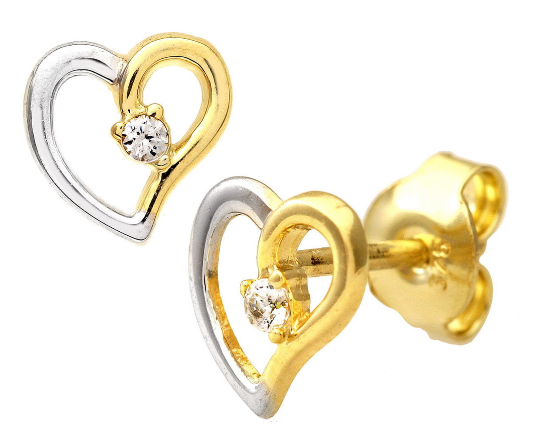 9ct Yellow and White Gold Cubic Zirconia Heart Stud Earrings