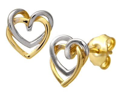 9ct Yellow and White Gold Cubic Zirconia Double Heart Stud Earrings