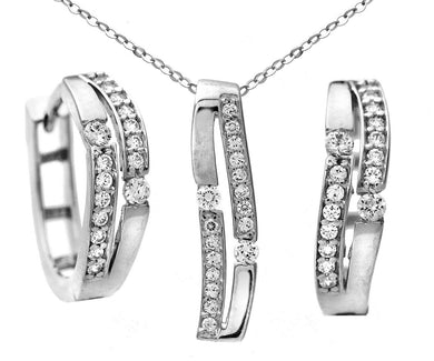 9ct White Gold Double Row Cubic Zirconia Earring and Pendant Set of 46cm