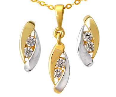 9ct Yellow and White Gold Cubic Zirconia Drop Pendant and Earring Set