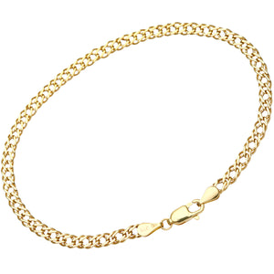9ct Yellow Gold 1.3g Flat Double Curb Bracelet of 19cm/7.5 Inch Length and 3.5mm Width