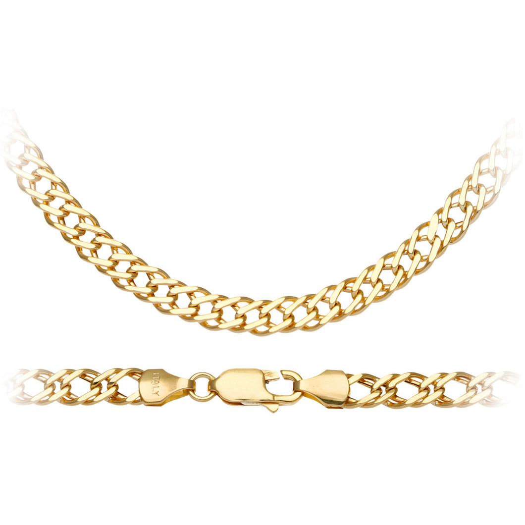9ct Yellow Gold 6.2g Fine Double Curb Necklace of  51cm/20 Inch Length and 5mm Width