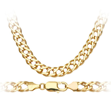 9ct Yellow Gold 12.1g Chunky Double Curb Necklace of 46cm/18 Inch Length and 7mm Width