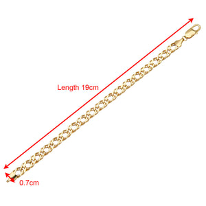 9ct Yellow Gold 5g Chunky Double Curb Bracelet of 19cm/7.5 Inch Length and 7mm Width
