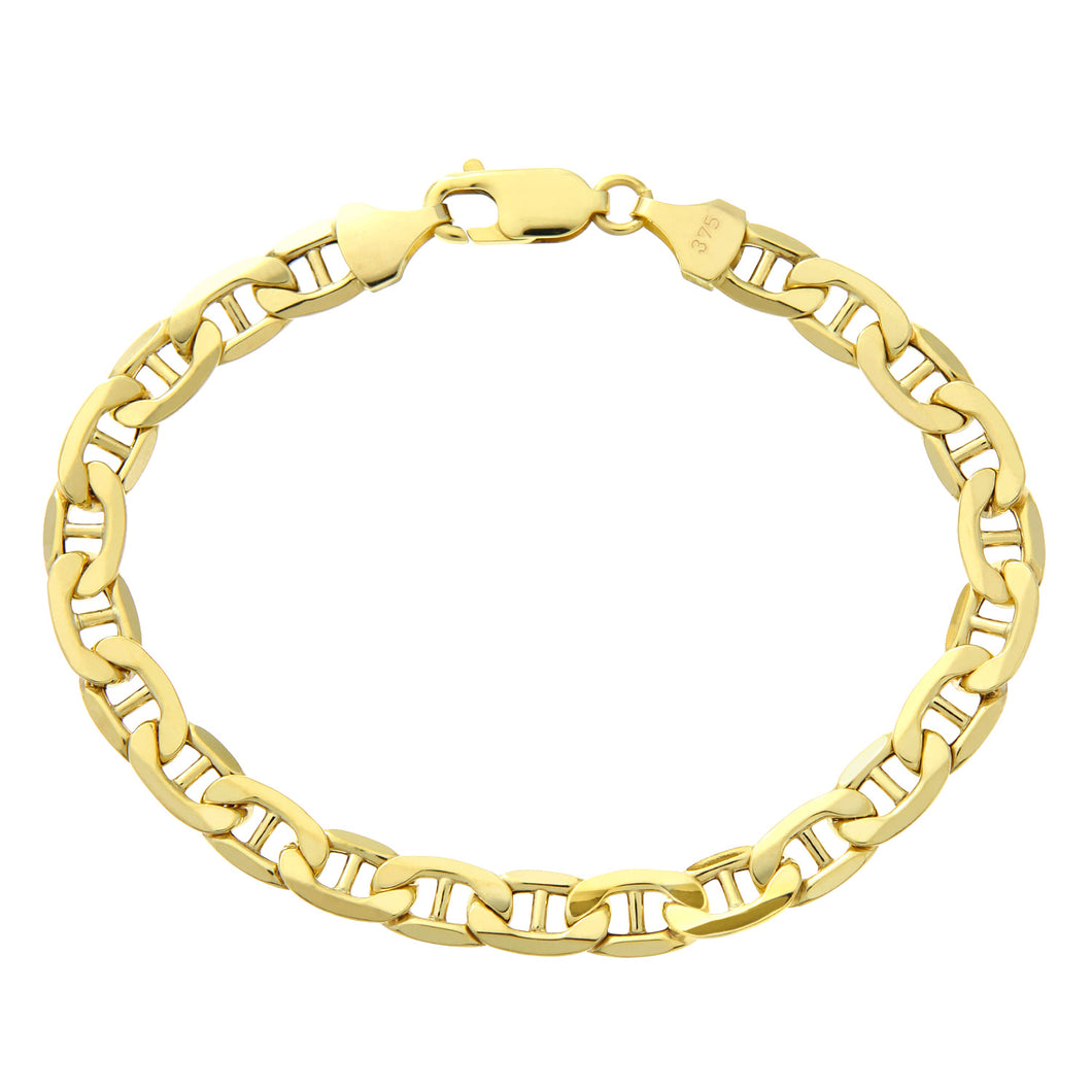 9ct Yellow Gold Wide Anchor Bracelet of 8.5 Inch/21.6cm Length and 0.6cm Width