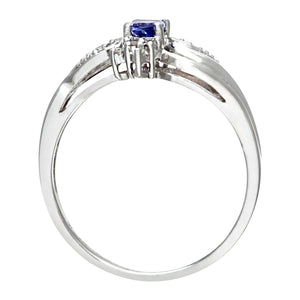 18ct White Gold Oval Tanzanite Cluster Ring with Diamond Twist Shoulders