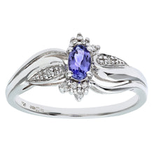 Load image into Gallery viewer, 18ct White Gold Oval Tanzanite Cluster Ring with Diamond Twist Shoulders