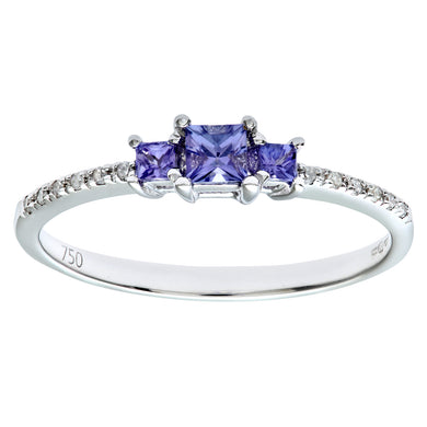 18ct White Gold 3 Stone Tanzanite Ring with Diamond Shoulders