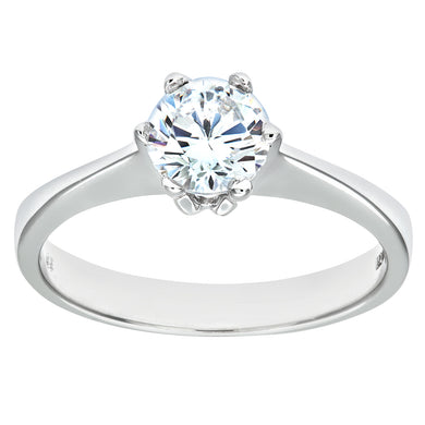 9ct White Gold Ladies Stone Set Solitaire Ring