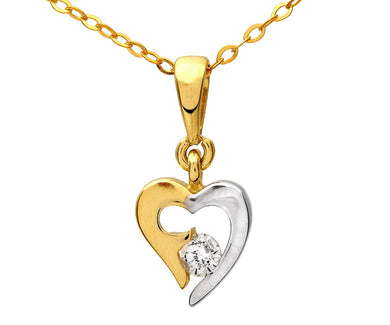 9ct Yellow and White Gold Cubic Zirconia Heart Pendant and Chain of 46cm