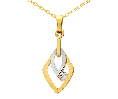 9ct Yellow and White Gold Cubic Zirconia Leaf Pendant and Chain of 46cm