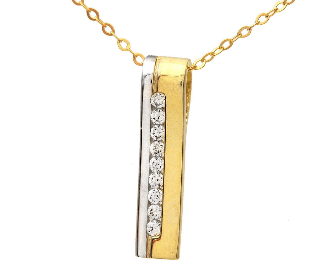 9ct Yellow and White Gold Channel Set Cubic Zirconia Stick Pendant and Chain of 46cm