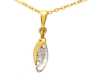9ct Yellow and White Gold Cubic Zirconia Almond Shape Pendant and Chain of 46cm